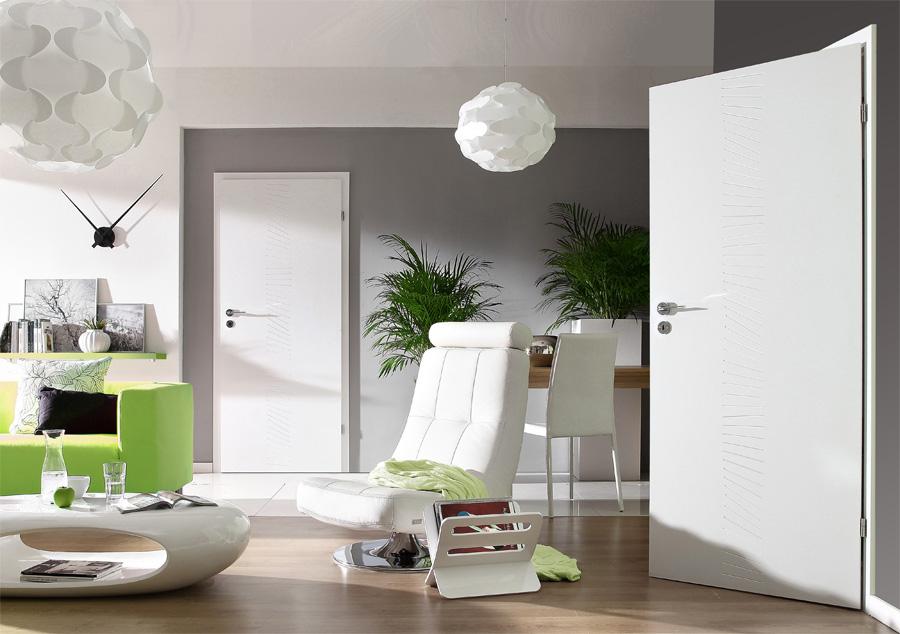 Gładkie drzwi wewnętrzne białe